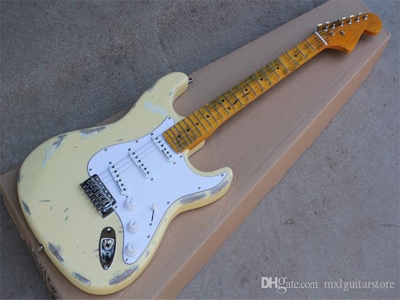Retro Sarı Neck, SSS Transfer, Taraklı Neck ile Fabrika Özel Süt Beyaz Retro Vücut Elektro Gitar ,, Teklif Özelleştirilmiş