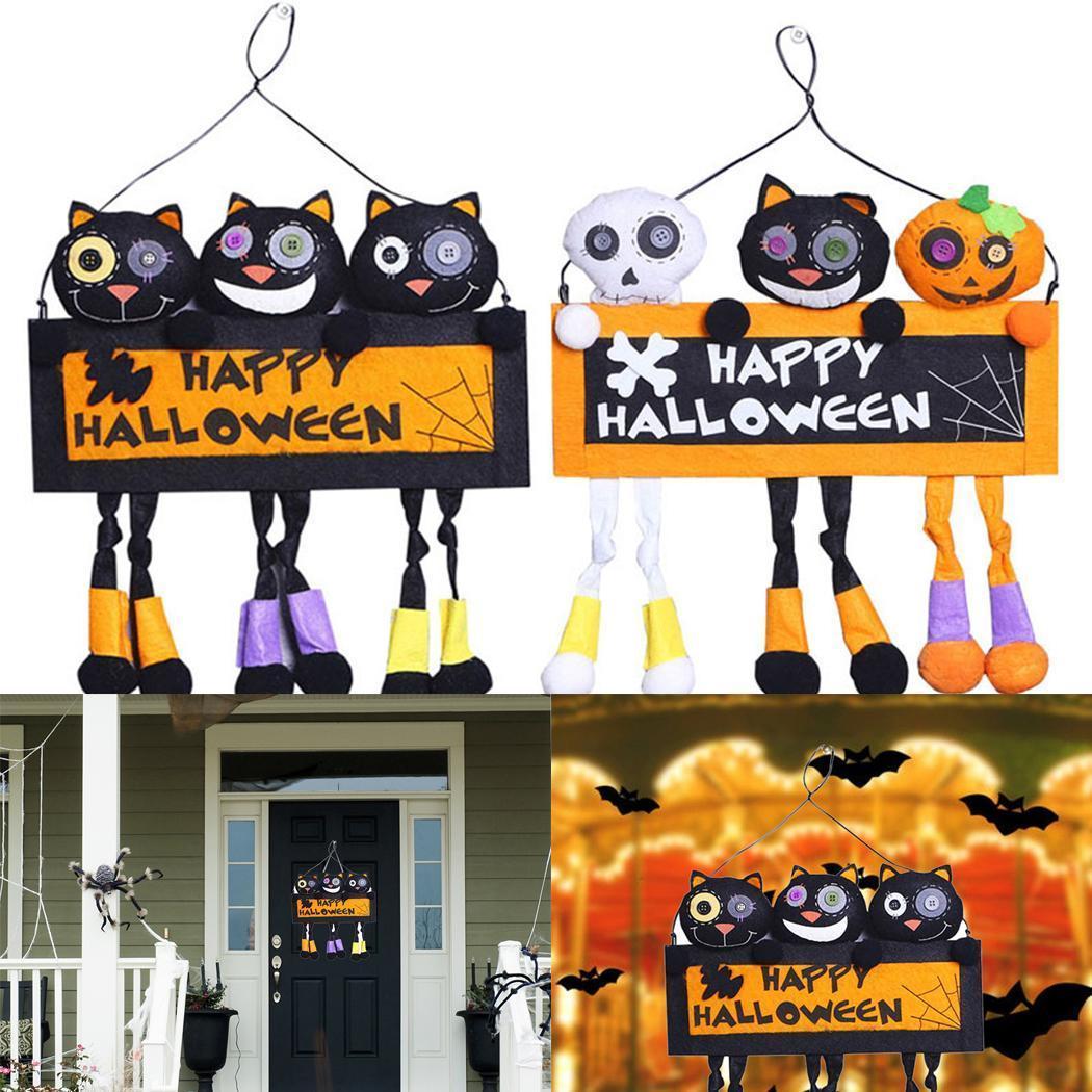 Halloween Hanging signe de décoration intérieure Conseil Porte ACCROCHAGE Décor noir, blanc noir pour Halloween Party