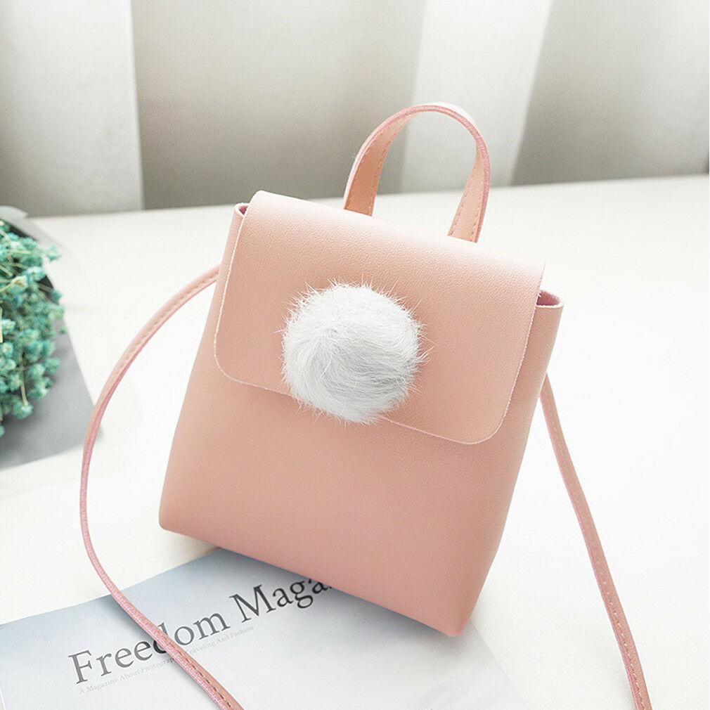Sac à bandoulière Cute femmes en peluche mode couleur unie mini-sac de téléphone portable sac messager sac à main en cuir PU