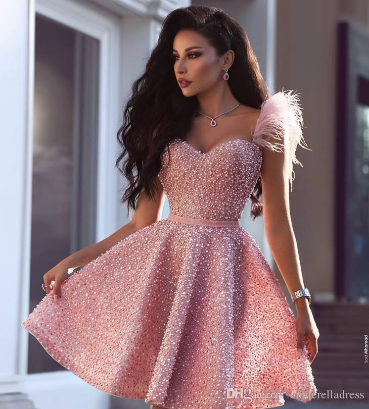 2020 Sexy Pearls Pink Cocktail Dress Arabic Dubai Style Knee Length Short Formal Club Wear Homecoming Prom Party Gown Plus Size Custom Made