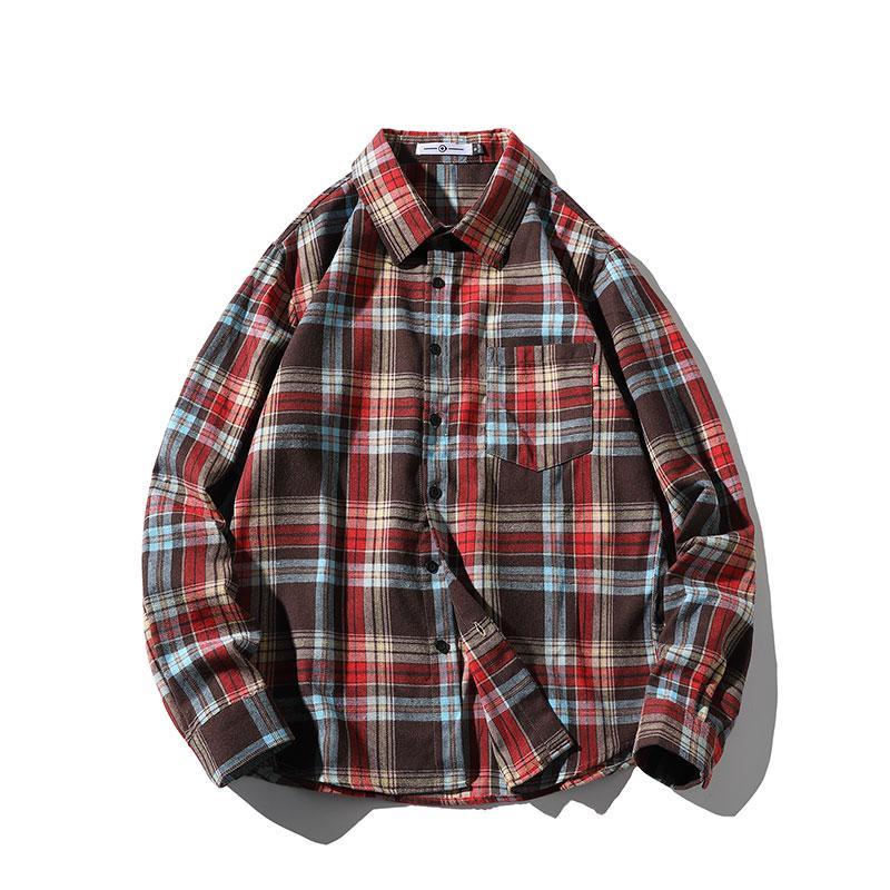 Camicie a scacchi di Harajuku lavoratori Moda a manica lunga puro cotone allentato girano-down colletto a righe Camicie Uomo Abbigliamento Japenese Style