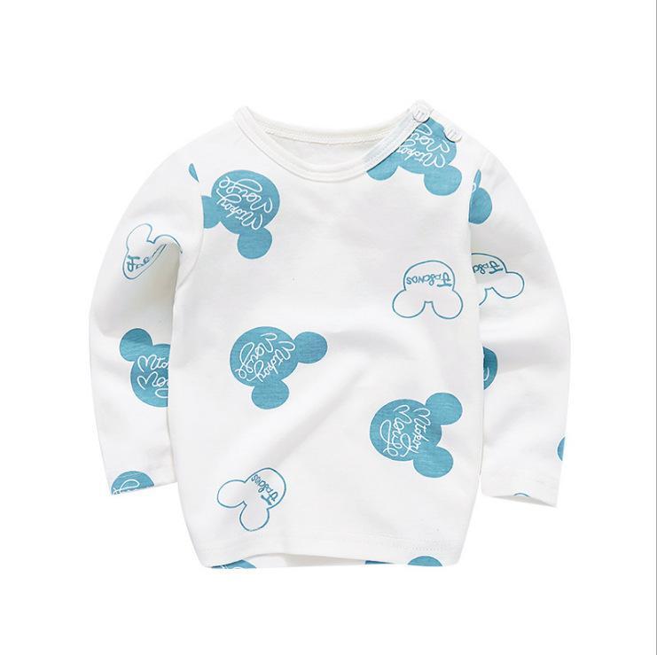 Baby T-shirt fibbia spalla bambino del cotone a maniche lunghe autunno piano unico per bambini posta autunno shirtPackage di base
