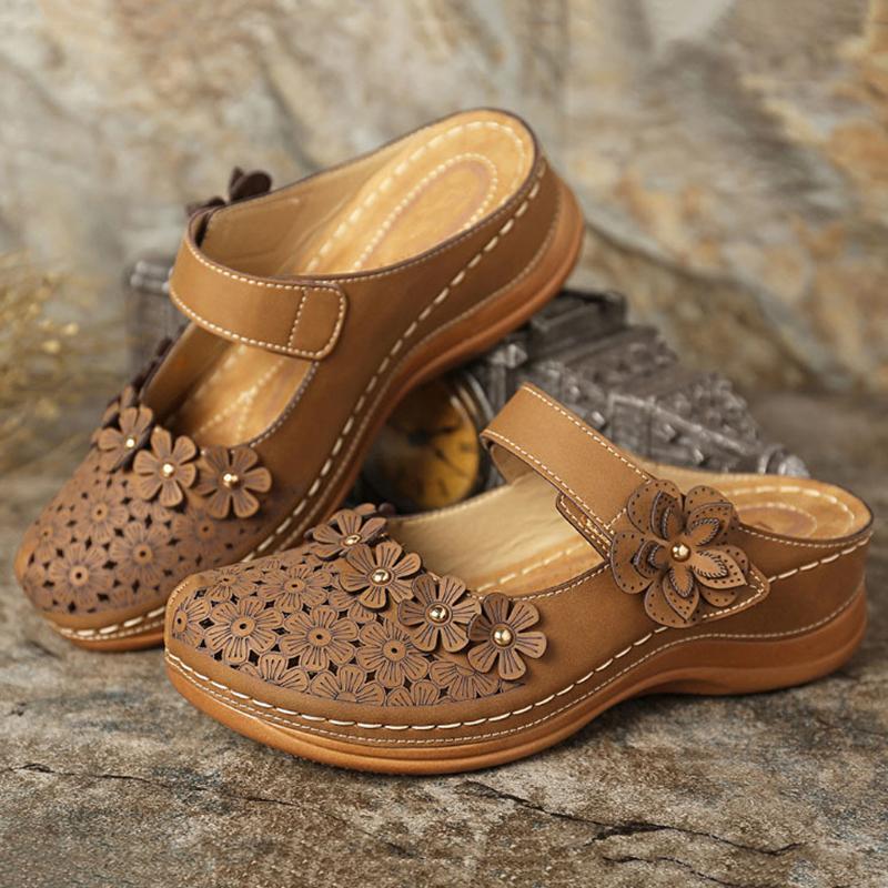 2020 Mulheres DO Sandals Floral Retro Plataforma doce Shoes Mulher Plano Sandals Senhoras Pu Couro Sandalia Feminina calçado Plus Size T200529
