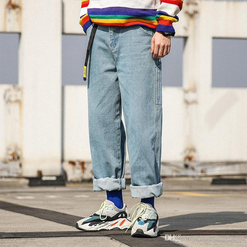 Hombres de la marca Jeans holgados Pantalones vaqueros de Hip Hop de gran tamaño Pantalones vaqueros holgados de moda holgados largos Pantalones harem para hombre