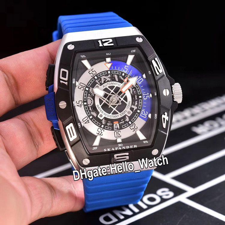 New Models Skafander SKF 46 DV SC DT Skeleton Dial Miyota Autoamtic Black Dial Mens Watch Two Tone Titanium Steel Case Blue Rubber Watches