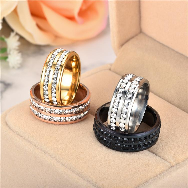 Two rows diamond ring cluster stainless steel band rings engagement wedding women mens gold fashion jewelry will and sandy