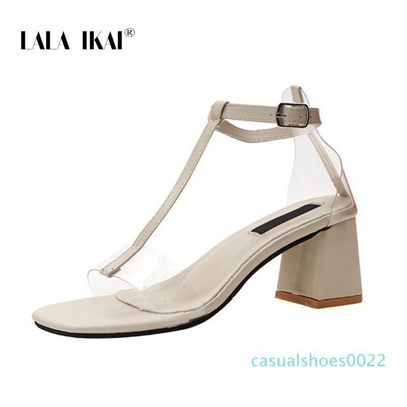 LALA Ikai mujeres 2020 verano sandalias de moda punta abierta de cuero de la PU de la hebilla transparente de alta Square zapatos de los tacones de las mujeres c22