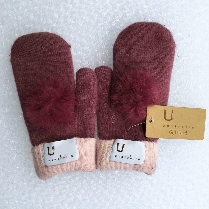 Wholesale- Hot Sale Women's Winter Make By Hand Mitten Gloves Thick Warm Gloves Fur Wool Gloves, Hand Wrist glove Nice Colors for Choosing