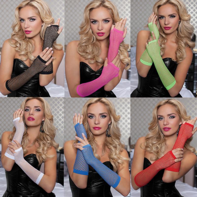 Fashion Netz-Handschuhe Sexy Sexy lange Handschuhe Punk-halbe Finger-Nachtclub-Etikette