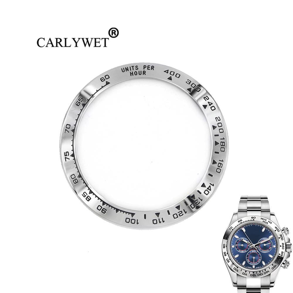 CARLYWET Comercio al por mayor de Alta Calidad de Acero Inoxidable 316L de Plata con Escritos en Negro 38.6mm Reloj Bisel para 116500 - 116520