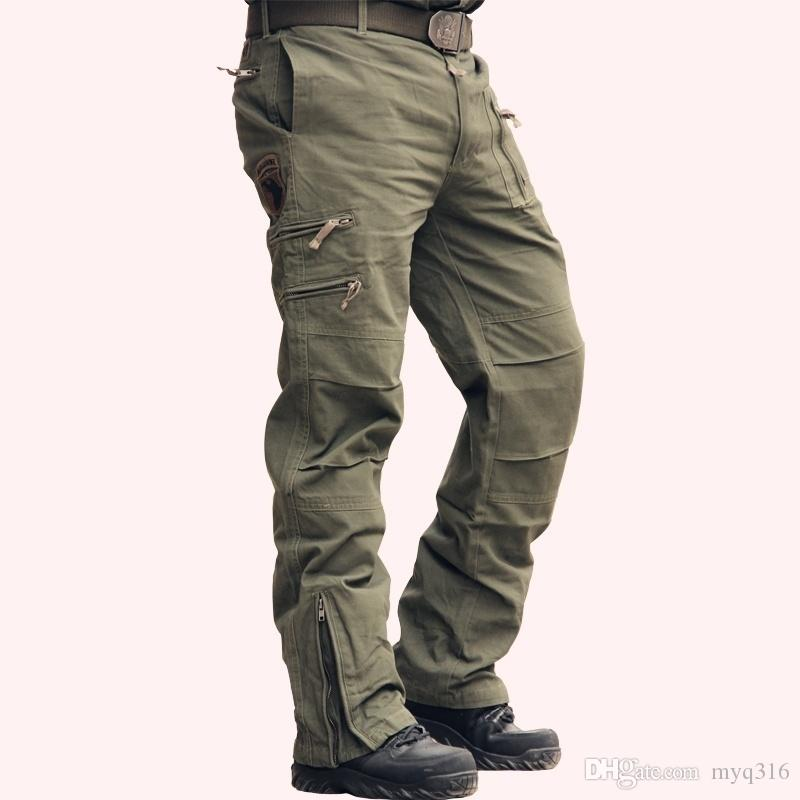 Mens Loose Casual Pants Overalls Long Cotton Pocket Pencil Army Military Trouser