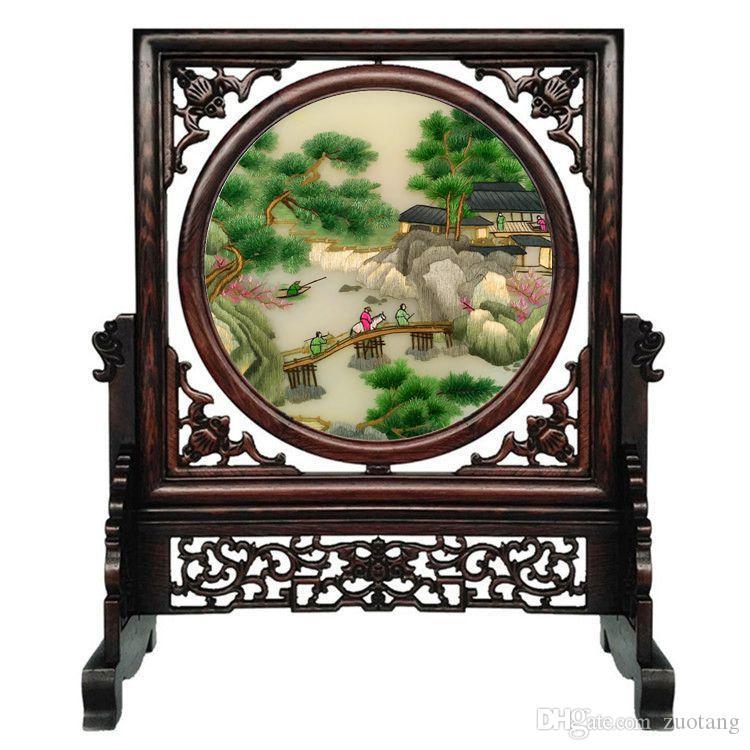 Gratuit DHL Vintage Décorations chinois pour la maison Salon Ornements de table Décor soie Handwork motifs de broderie Wengé Cadre cadeau de mariage