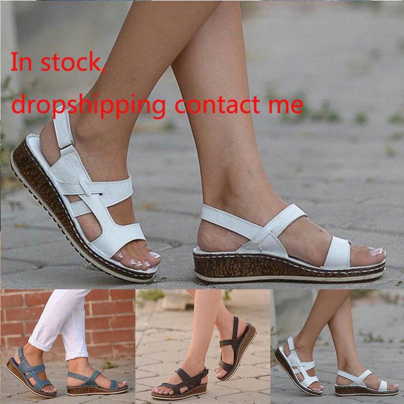 Frauen Art und Weise zwängt Sandalen Flache Plattform-Schuh-Sommer-neue Low Heel Freizeit Sandalen Large Size 40-43 Sandalen CX200609