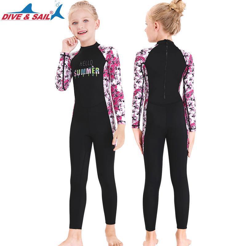 Filles manches longues Maillot Full Body Protection UV UPF 50+ Rashguard avec le dos Zip costumes d 'été Maillots de bain Beachwear fille maillots de bain
