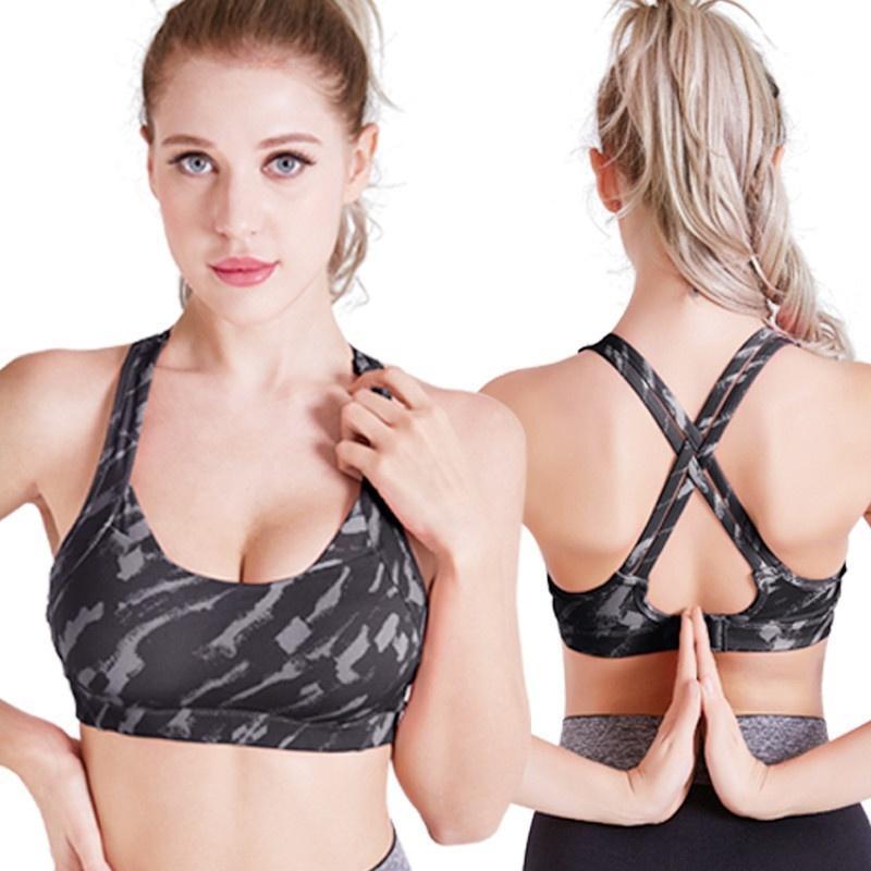 Mulheres Moda de Nova camuflar que funciona Gym Correr Desporto Bra Workout Jogging Push Up Top Vest