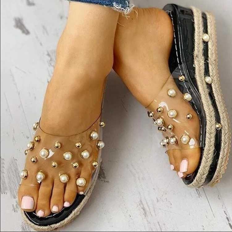 New Fashion Women Summer Rhinestone Sequins Sandals Roman Wedges Casual Beach Shoes Casual Floral Princess Sandals Women
