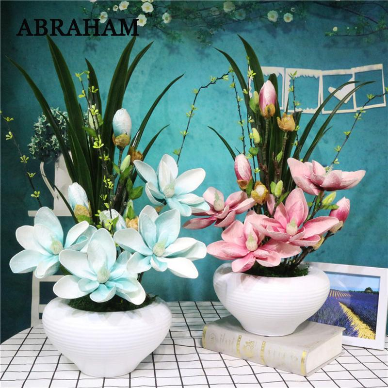 2020 55cm Pe Magnolia Bonsai Big Artificial Orchid Flowers Landscape With Ceramic Pot Real Touch Flower Bouquet For Home Party Decor From Copy02 89 91 Dhgate Com