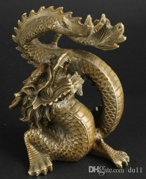 Art Bronze Decoration Crafts Brass China Collectable Handmade Brass Clear Ward Off Bad Luck Lucky Dragon Statue