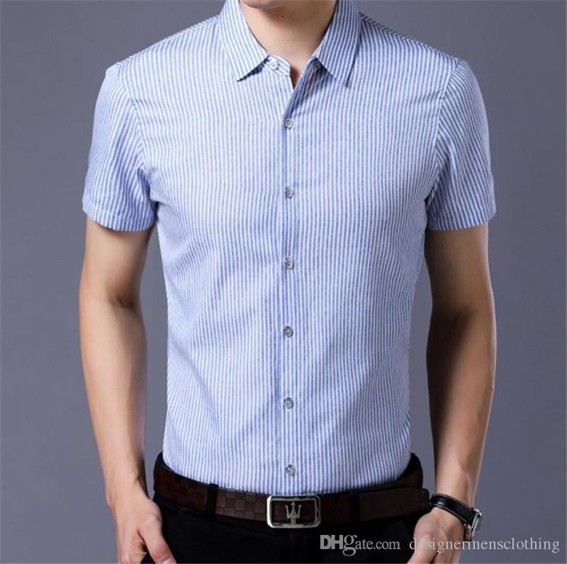Designer a righe Mens camice casuali gira giù Camicie manica corta da uomo estate magro con monopetto