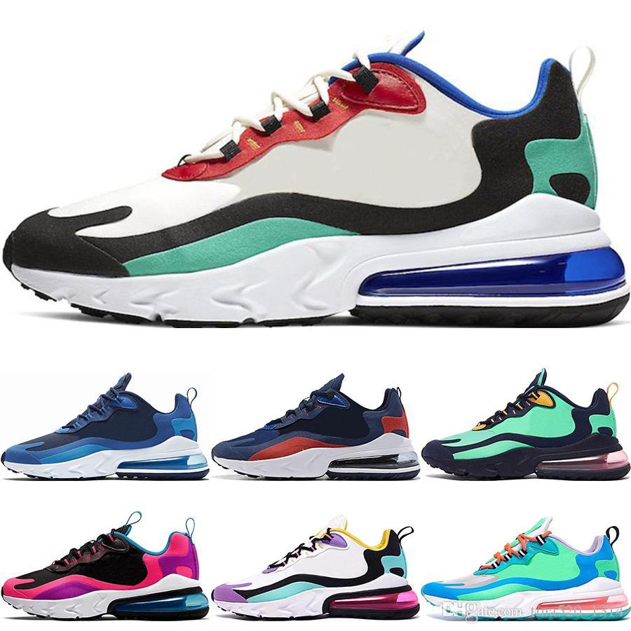 رد فعل مصمم أحذية Nike Air Max 270 React 27OG باوهاوس فرط اليشم الرجال الزرقاء الفراغ الكهربائية أخضر أصفر مغرة حجر السج قمة النساء البيض الجري أحذية رياضية المدربين