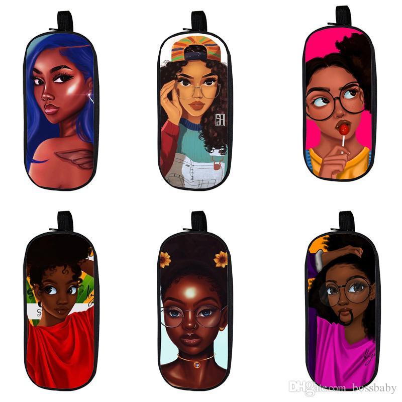 Cartoon Student Pencil Case 12 Design Kids Grande capacità Afro Cartoon Girls Organizer per cancelleria per bambini Borsa per matita con cerniera resistente all'usura 06