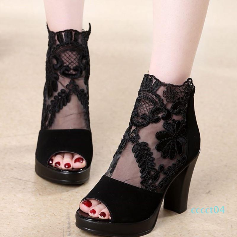 Hot Vente- Mesh Peep Toe Sandales Chaussures Sexy Chaussures Femmes Chaussures simples d'été en Europe et en Amérique 2019 Spring Gaze fétichiste Talons CT4
