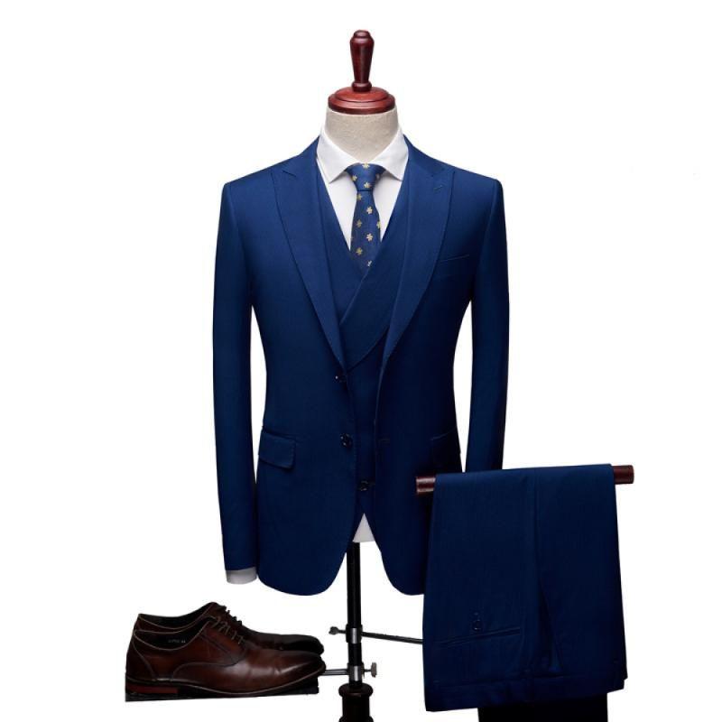 Traje Traje sólido hombres de color de tres piezas Boutique 2020 la manera ocasional coreana del estilo de visita delgada del traje de los hombres de Homme matrimonio