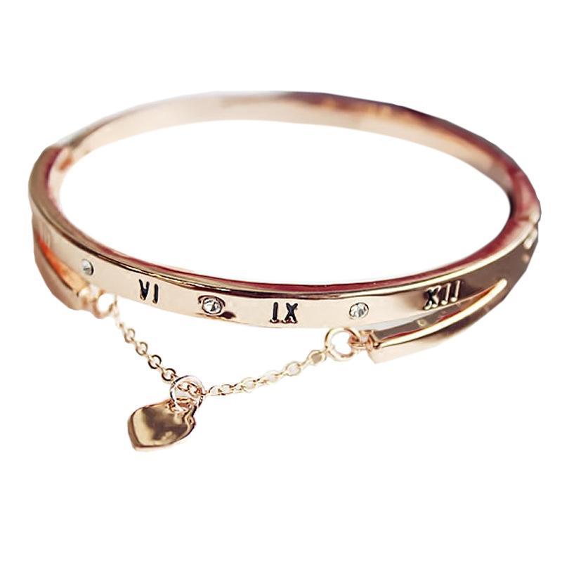 Hot Luxury Rose Gold Stainless Steel Bracelets Bangles Female Heart Forever Love Pandora Charm Bracelet for Women Famous Jewelry