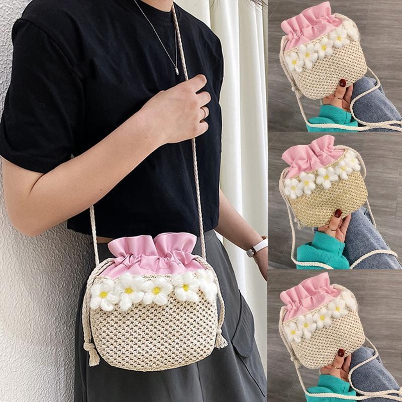 Kadın Omuz Çantası Moda Straw Çiçekler Kontrast Renk İpli Bucke Çanta Kepçe Omuz # YL10