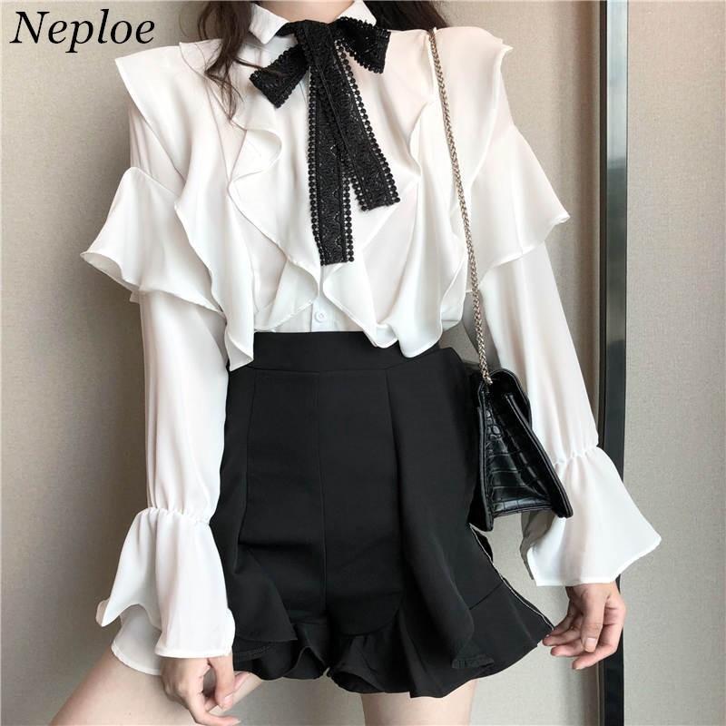 Neploe Ruffles Bluz Dantel Papyon Tasarım Gömlek 2020 Sonbahar tatlı Kore Moda Gömlek Kadınlar Kelebek Kol blusas T200321 Tops