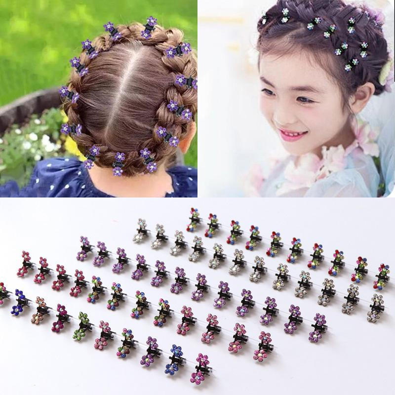Mode 120PCS / Lot Petit Mignon Fleurs de cristal en métal Cheveux Claws Barrettes filles Coiffure Barrettes cheveux