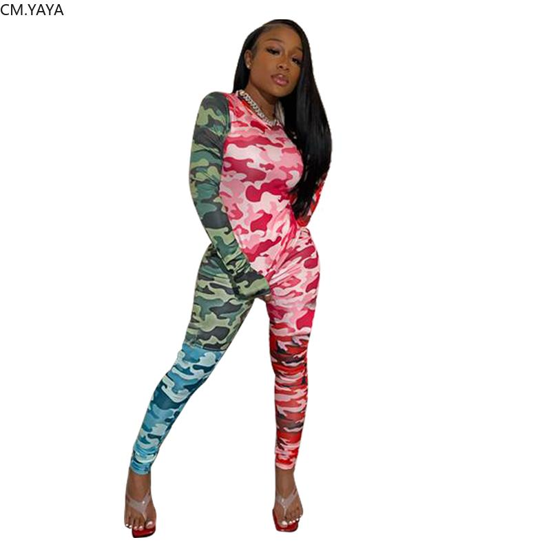 Femmes Printemps Survêtements Camouflage Imprimer Top + Crayon Pantalons Costume Deux Piece Set Party Club de sport de nuit Tenues Total GL9602