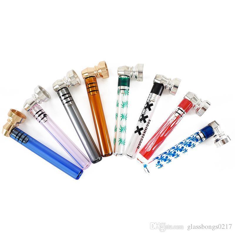 лучшее качество стекло табак курение сигареты трубы воды кальян Бонг портативный кальян рука ложка трубы с металлической чашей для сухой травы
