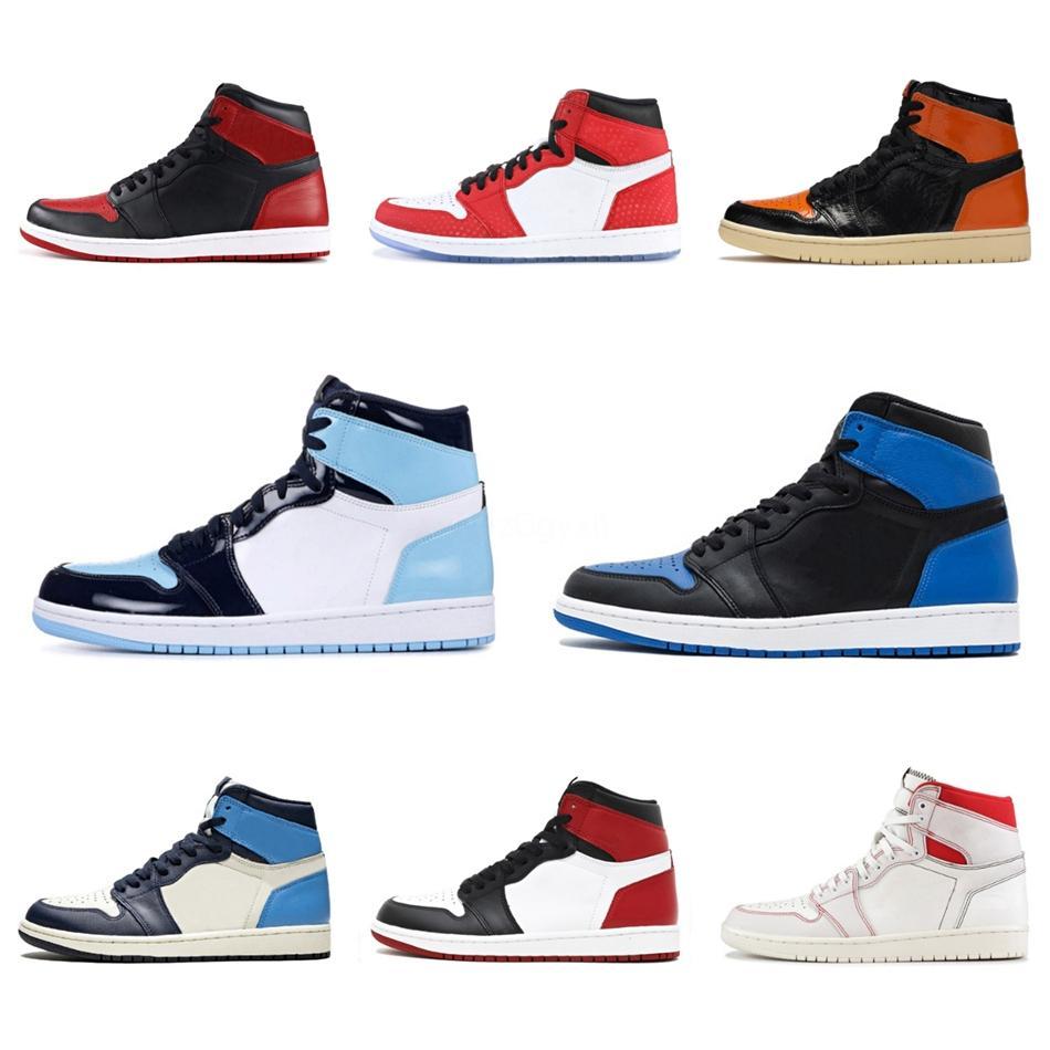 Zapatos baratos de calidad superior de baloncesto 1S azul rojo blanco para hombre Jumpman 1 Shattered Tablero Corte púrpura Off Mujer Hombre zapatillas Entrenadores 36 # QA657