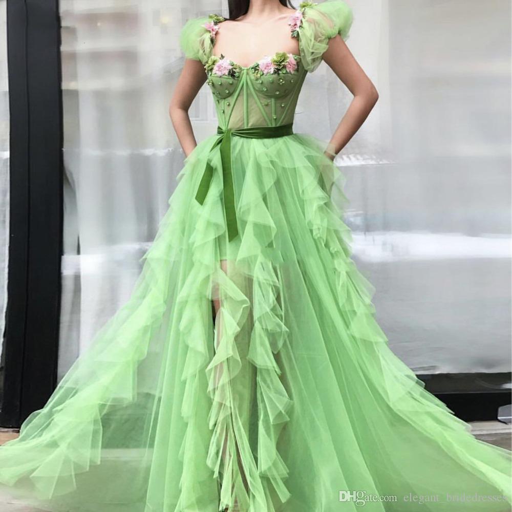 Pretty 3D Floor Bright Green Evening Dresses Short Puff Strap Crystal Ruffles See Thru A-line Prom Gowns Abendkleider Graduation Dresses