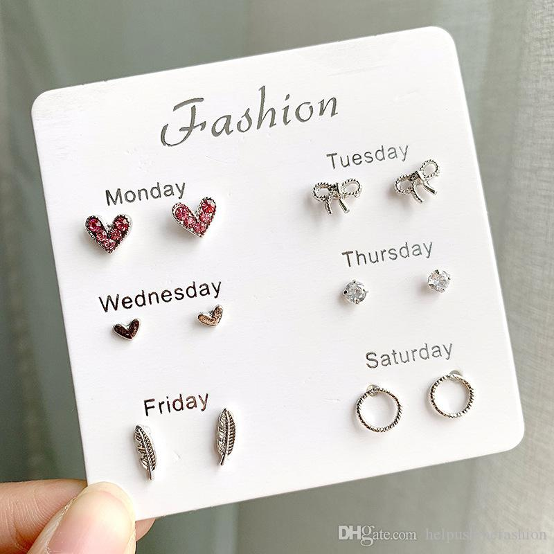 High quality earrings for women Seafood style 6 pairs per set earring stud set earrings 2019