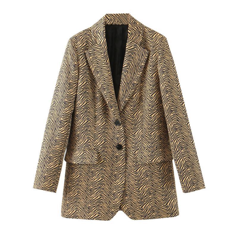 Elegante indossare in ufficio stampa della zebra Giacchette cappotto manica lunga Moda Tasche femminile Cappotti Chic Top Blazer Feminino