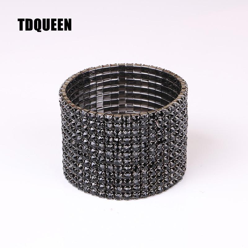 12 Rows Black Crystal Rhinestone Bangle Bracelet Gun Black Plated Metal Wide Elastic Stretch Bangles for Woman