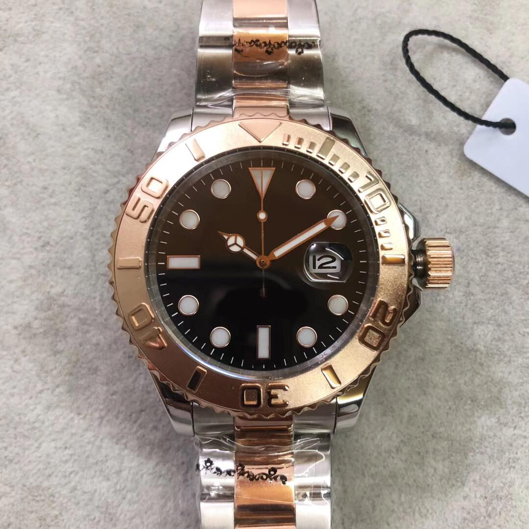 الذهب أعلى الرجال بيع يخت مشاهدة التلقائي الرجال الحركة الميكانيكية ساعة اليد 44MM الاتصال الهاتفي الفولاذ المقاوم للصدأ حزام رجالي كلاسيك مشاهدة سوبر مضيئة