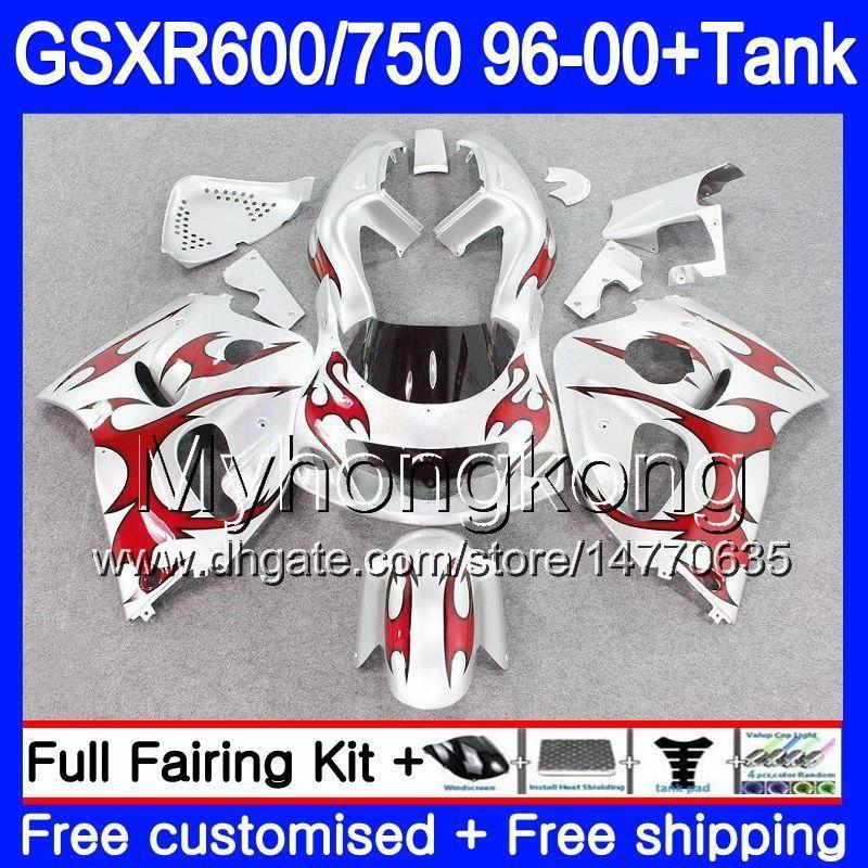Bodys +Tank For SUZUKI SRAD GSXR 750 600 Red silvery hot 1996 1997 1998 1999 2000 291HM.41 GSXR600 GSXR-750 GSXR750 96 97 98 99 00 Fairing