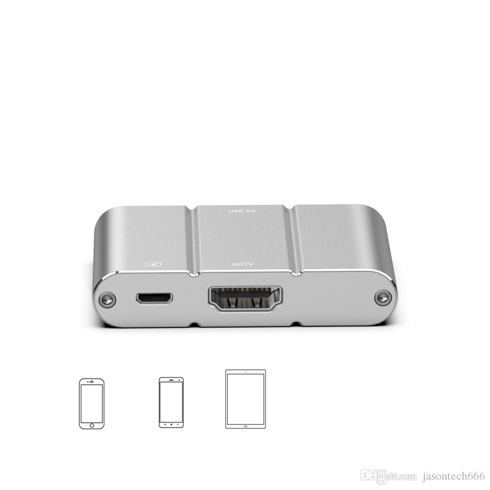 For iPhone iPad HDMI Adapter Lightning to HDMI Converter 1080P HD Digital Video Hub for Projector TV Monitor