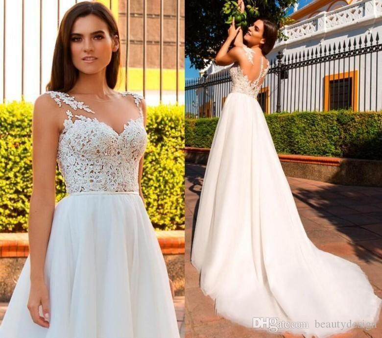 Boho Beach Wedding Dresses 2019 Soft Tulle Lace Bridal Gowns A Line Ivory Jewel Neck Covered Button Tulle Wedding Reception Dress