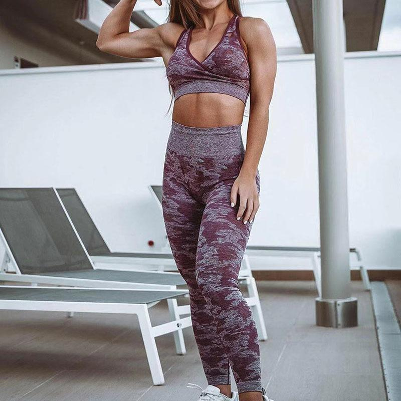 Camouflage High Waisted Yoga Pants Gym Camo Seamless Leggings Elastic Exercise Tights Girl Women Pants For Fitness Running Sport T200325