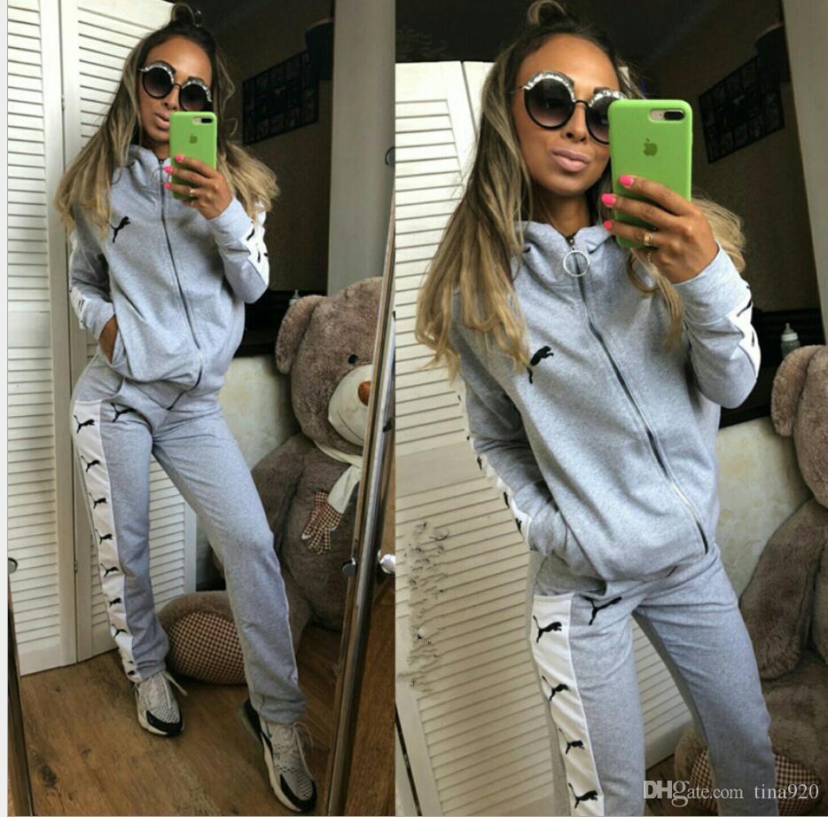 Günlük spor Kadınlar Harf Baskı Eşofman Kadın Eşofman Uzun Kollu Hoodies Sweatshirt Kış Spor Suits set