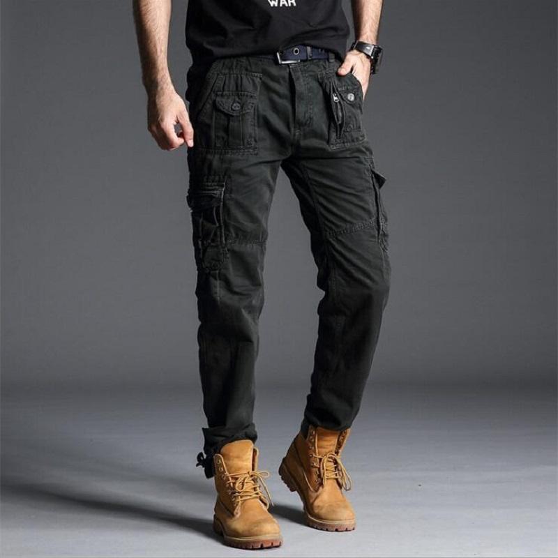 Мужские брюки тактические боевые армии мужской камуфляж Jogger хлопковые брюки мужские карманы Zip стиль камуфляж черный груз