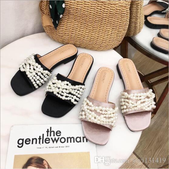 Европа и Соединенные Штаты 2019 весной и летом новые женские жемчужные тапочки плоские сандалии и тапочки носить слово перетащить