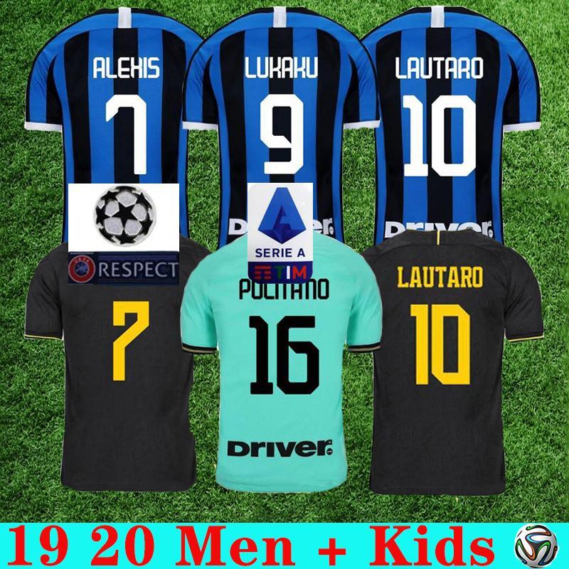 2019 2020 Lukaku LAUTARO Škriniar Inter Mailand Fußball-Trikot ALEXIS GODIN BARELLA Fußball Spitzenhemden maillot de foot Männer Kindeinstellt Uniform