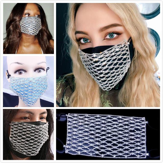 Máscara lujosa joyería Rombo cuadrícula Rhinestones del brillo captura de los ojos Sexy aleación Máscara mujeres de moda de gama alta accesorios faciales