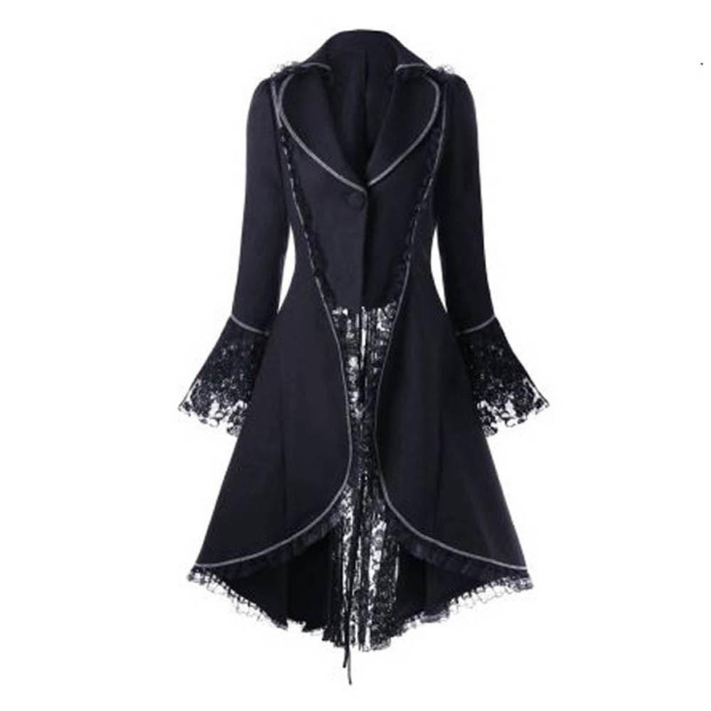 Frauen Smoking Anzug Vintage-Rückenbandage Spitze Stitching Blazer Jacke Punk Bühne Kleidung Jacke langer Anzug d90709