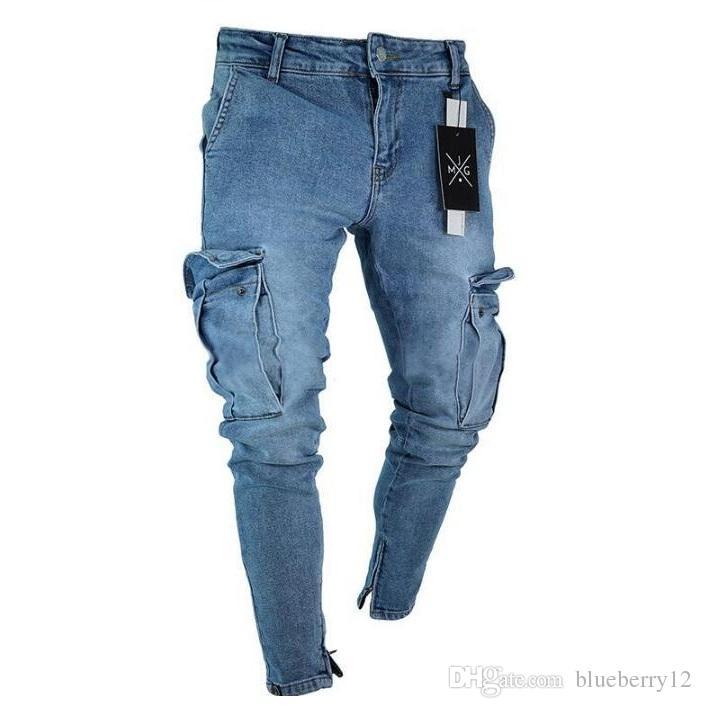 S-4XL Hommes Skinny Jeans Pantalons 2019 Vintage Fashion Denim bleu Deux poches design Street Style Crayon Jeans gratuit Shippipng